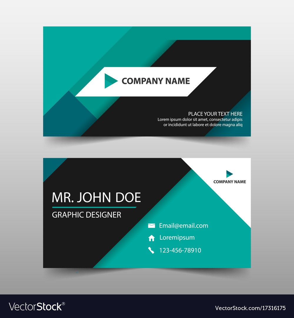 Green Corporate Business Card Name Card Template Vector Image Within Company Business Cards Templates