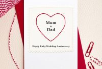 Greeting Card So Sweet Heart Mum And Dad Ruby Wedding Anniversary regarding Template For Anniversary Card