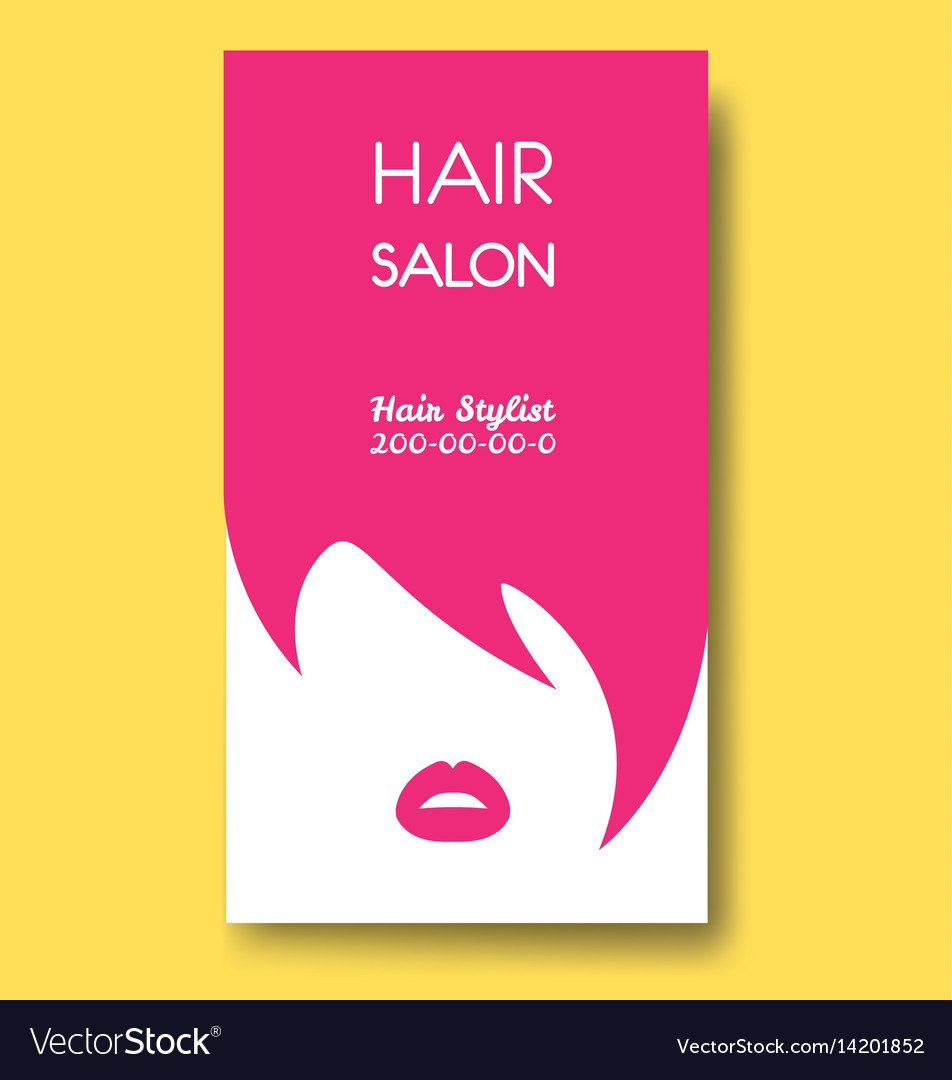 Hair Salon Business Card Templates With Pink Hair Vector Image With Hair Salon Business Card Template