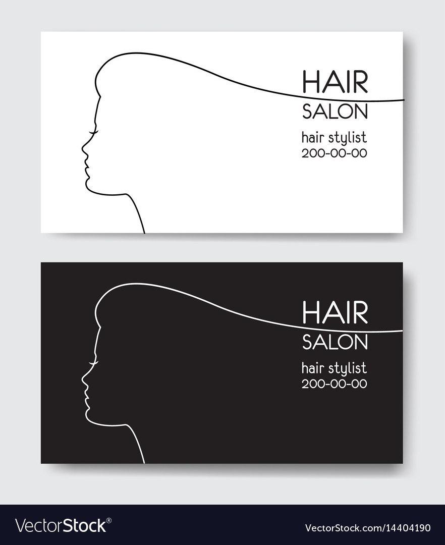 Hair Salon Business Card Templates Withl Woman Vector Image For Hair Salon Business Card Template