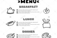 Hand Drawn Menu For Cafe With Breakfast Lunch Dinner Inscriptions throughout Breakfast Lunch Dinner Menu Template