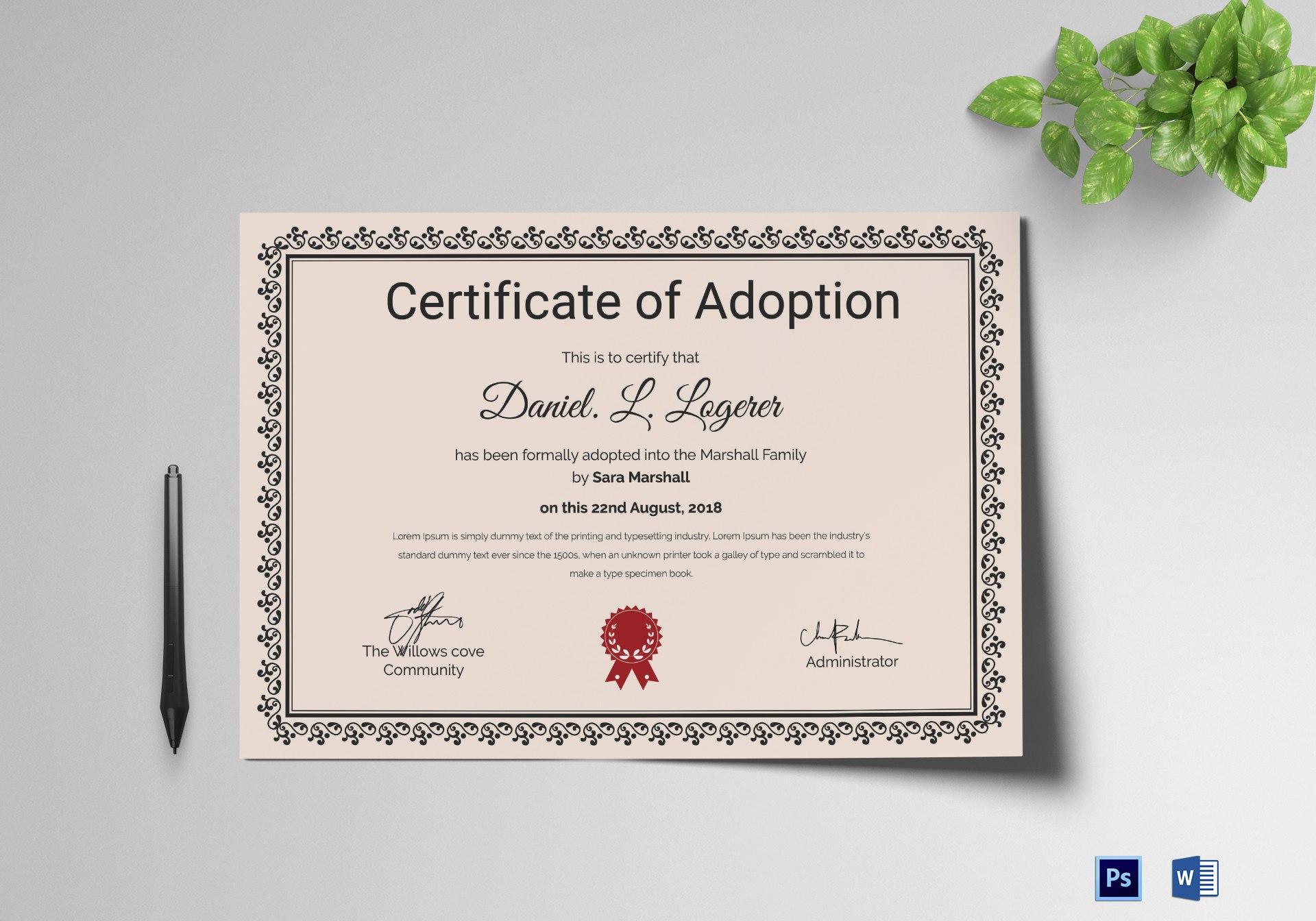 Happy Adoption Certificate Design Template In Psd Word Inside Adoption Certificate Template