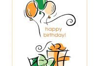 Happy Birthday Card With Balloons Quarterfold throughout Foldable Birthday Card Template