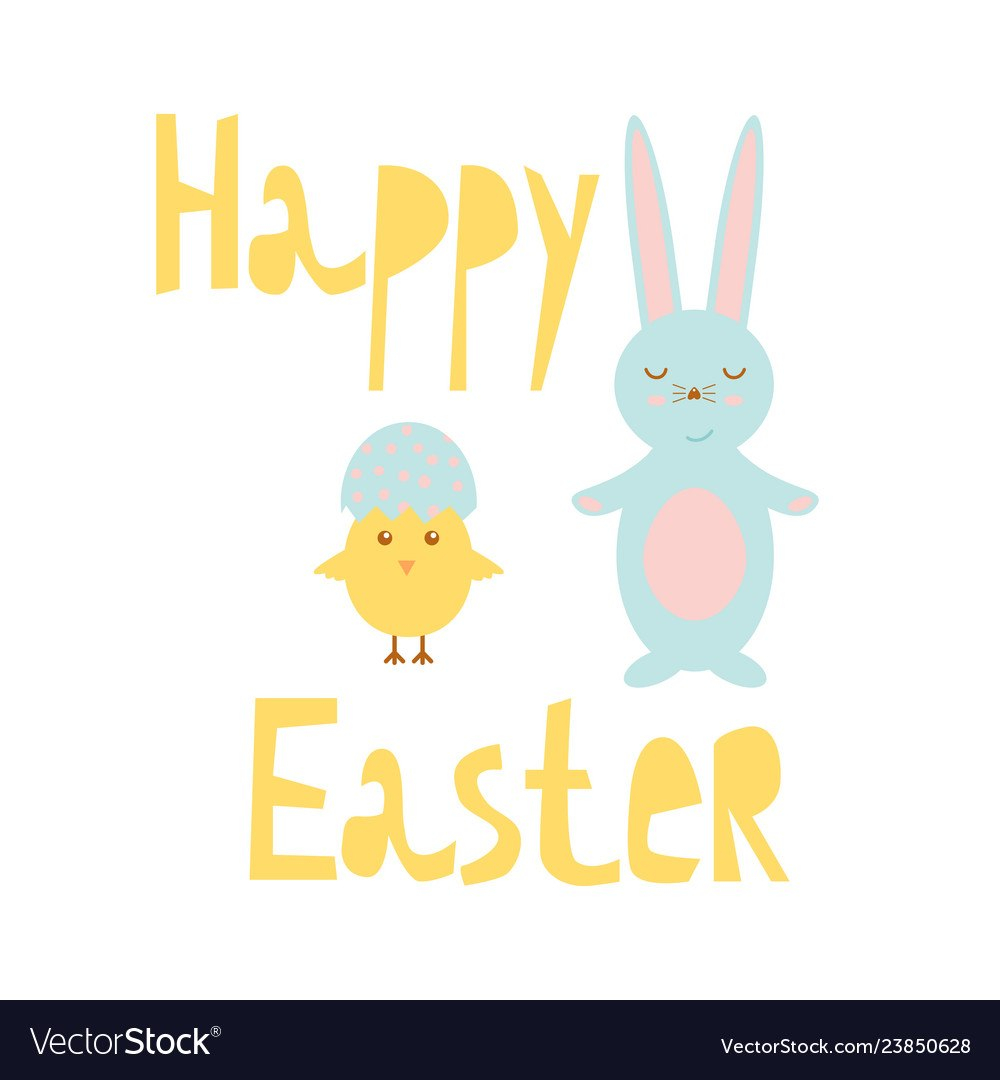 Happy Easter Greeting Card Template With Bunny And Inside Easter Chick Card Template