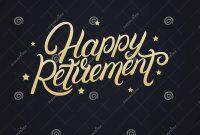 Happy Retirement Hand Written Lettering Stock Vector  Illustration intended for Retirement Card Template