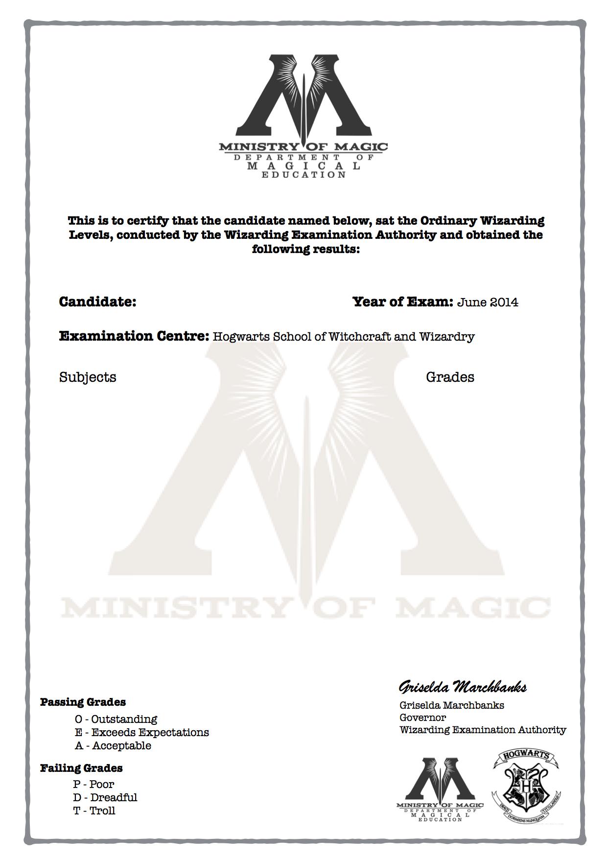 Harry Potter Owl's Certificate Blank Template  Harry Potter Throughout Harry Potter Certificate Template