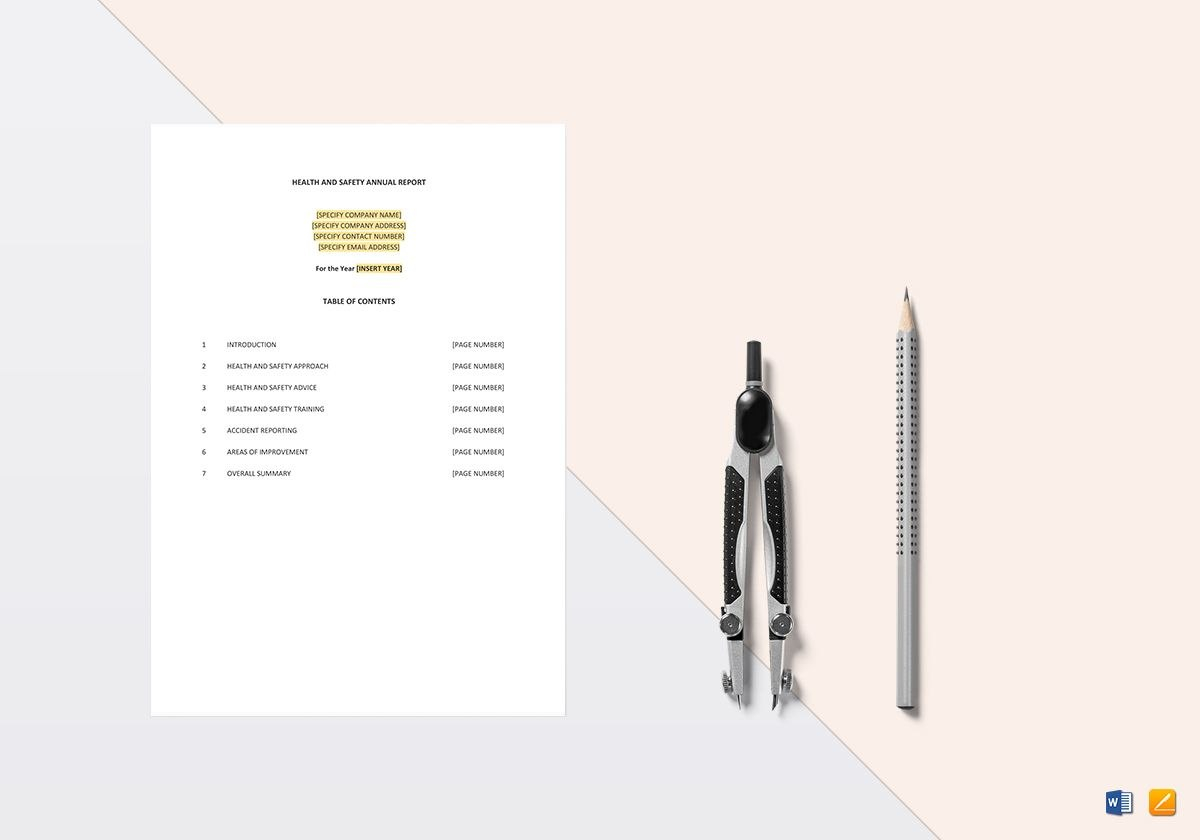 Health And Safety Annual Report Template In Word Apple Pages Intended For Annual Health And Safety Report Template