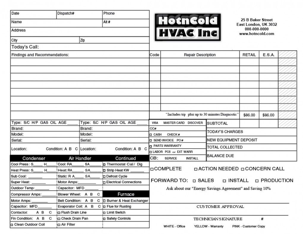 Heating Amp Air Invoice Form Samples Wilson Printing Wilson Hvac Intended For Hvac Invoices Templates