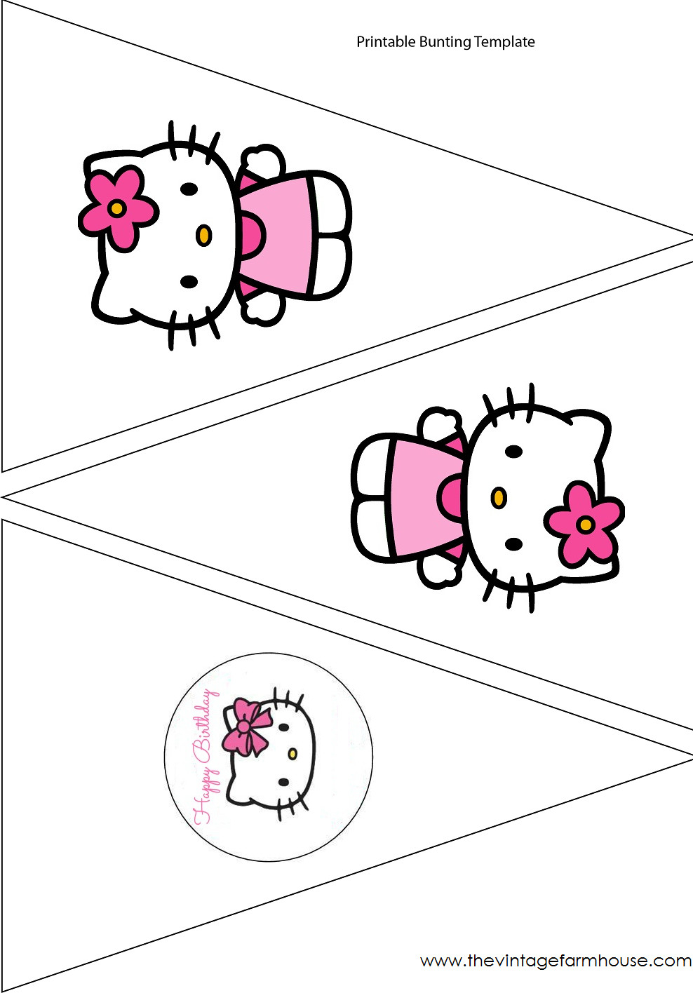 Hello Kitty Banner Printable Fresh The Vintage Farmhouse Hello Kitty Pertaining To Hello Kitty Birthday Banner Template Free