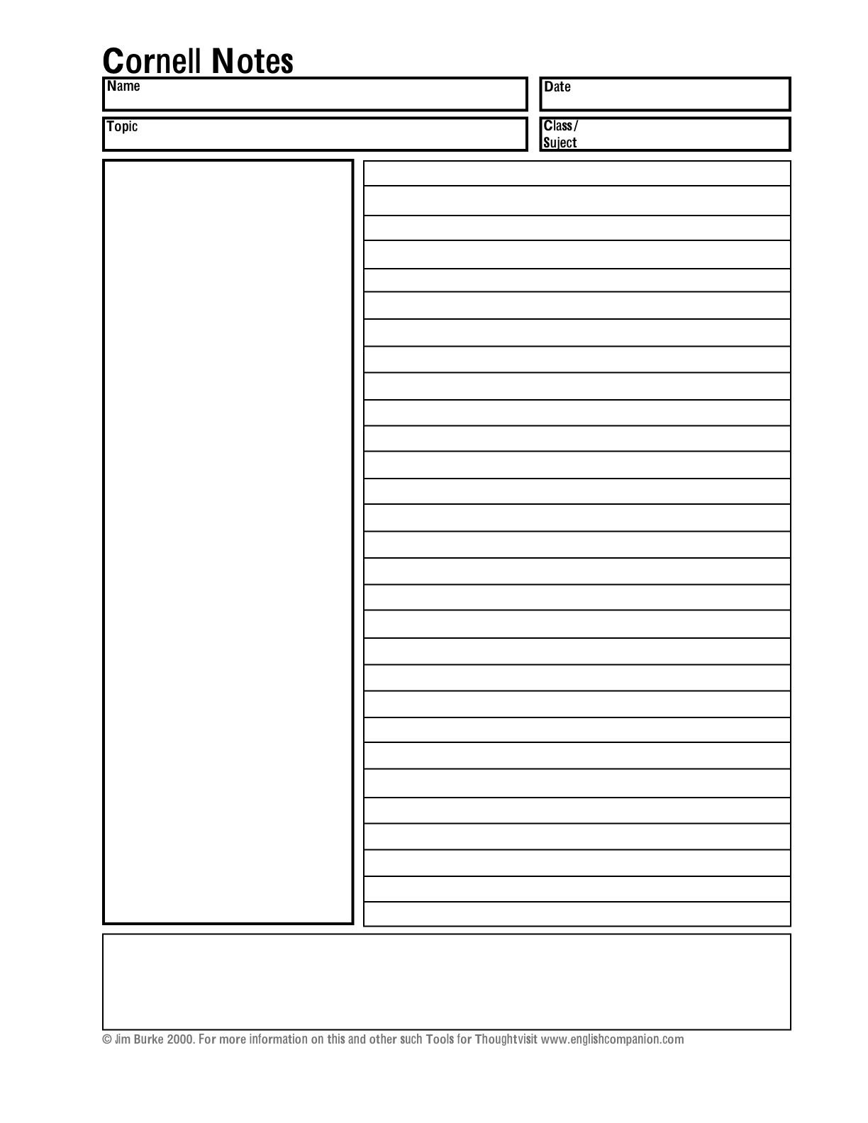 Helping Students Take Better Notes Teacher Analysis  Note Taking Within Note Taking Template Word