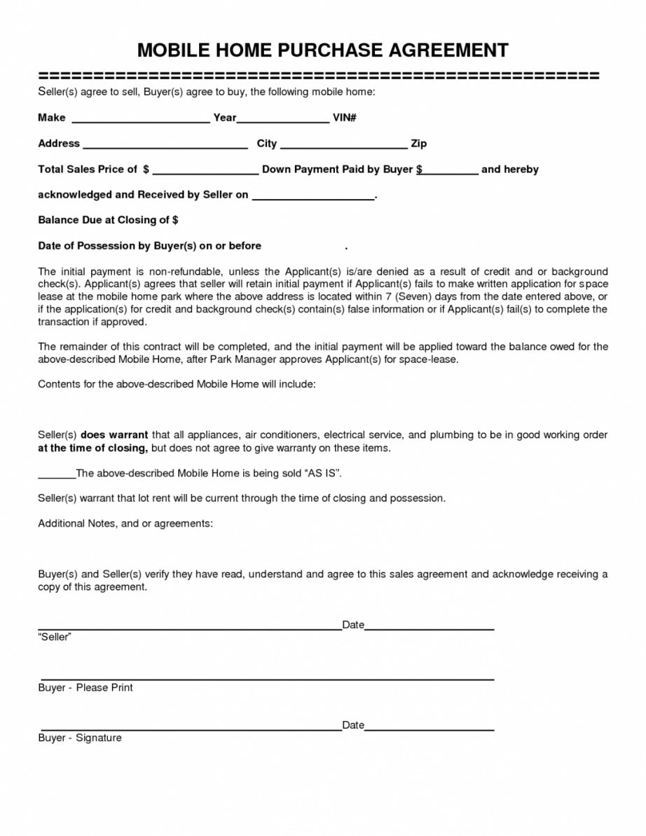 Here The Mobile Home Purchase Agreement Gtld World Congress Home Pertaining To Home Purchase Agreement Template