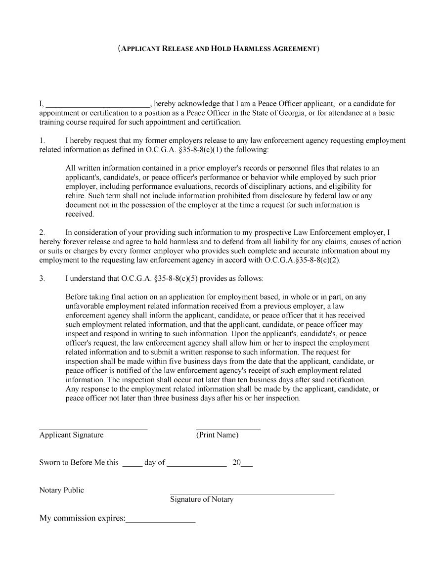Hold Harmless Agreement Templates Free ᐅ Template Lab With Simple Hold Harmless Agreement Template