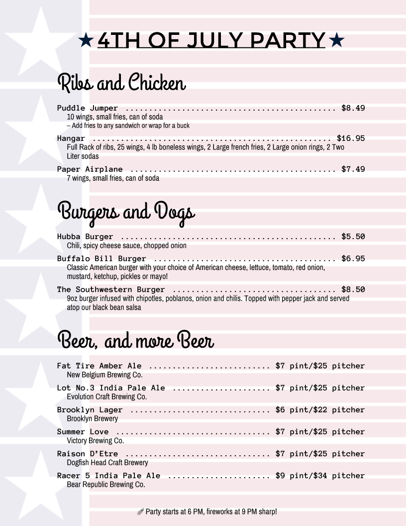 Holiday Menu Templates From Imenupro  More Than Just Templates with regard to 4Th Of July Menu Template