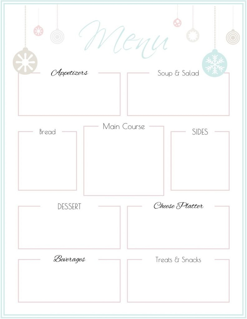 Holiday Party Menu Template Free Printable  Saturdaygift Throughout Free Printable Menu Template