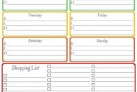 Home Management Binder  Weekly Menu  Shopping List  Organizing with Menu Planner With Grocery List Template