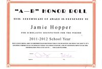 Honor Roll Certificates Template with Honor Roll Certificate Template