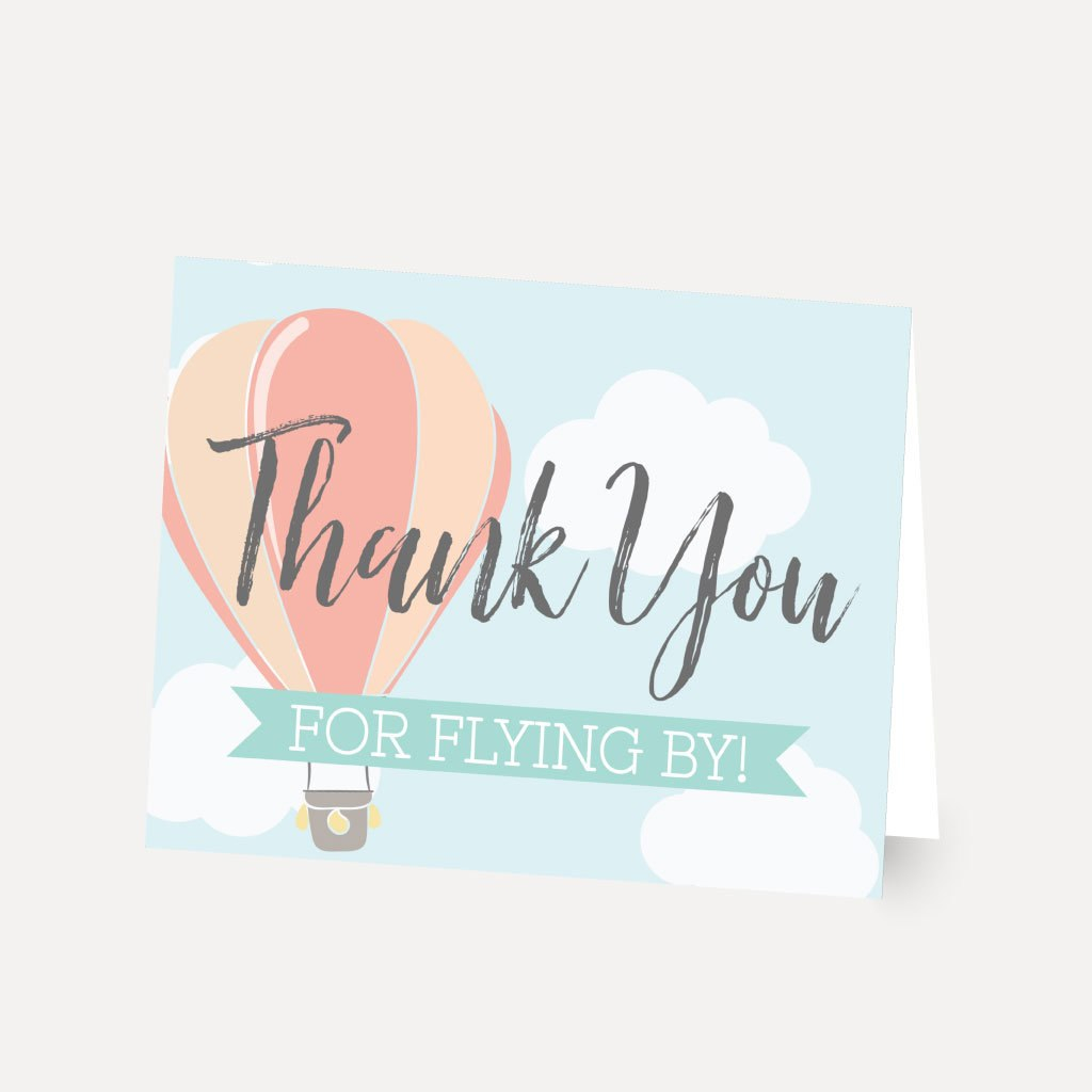 Hot Air Balloon Baby Shower Thank You Card Template Thank  Etsy Intended For Thank You Card Template For Baby Shower