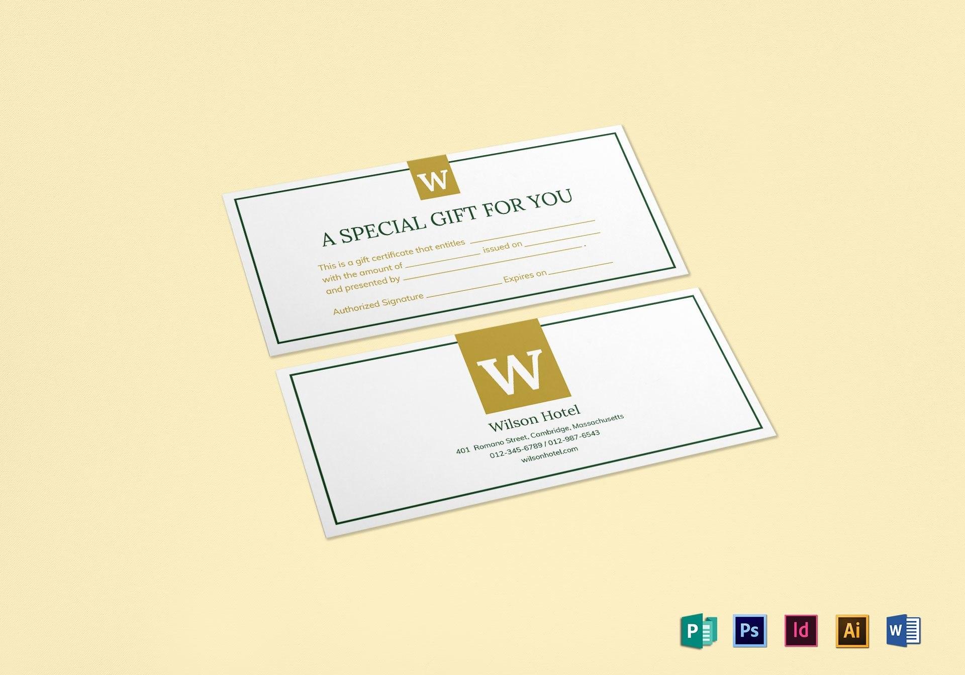 Hotel Gift Certificate Design Template In Psd Word Publisher Inside Gift Certificate Template Indesign