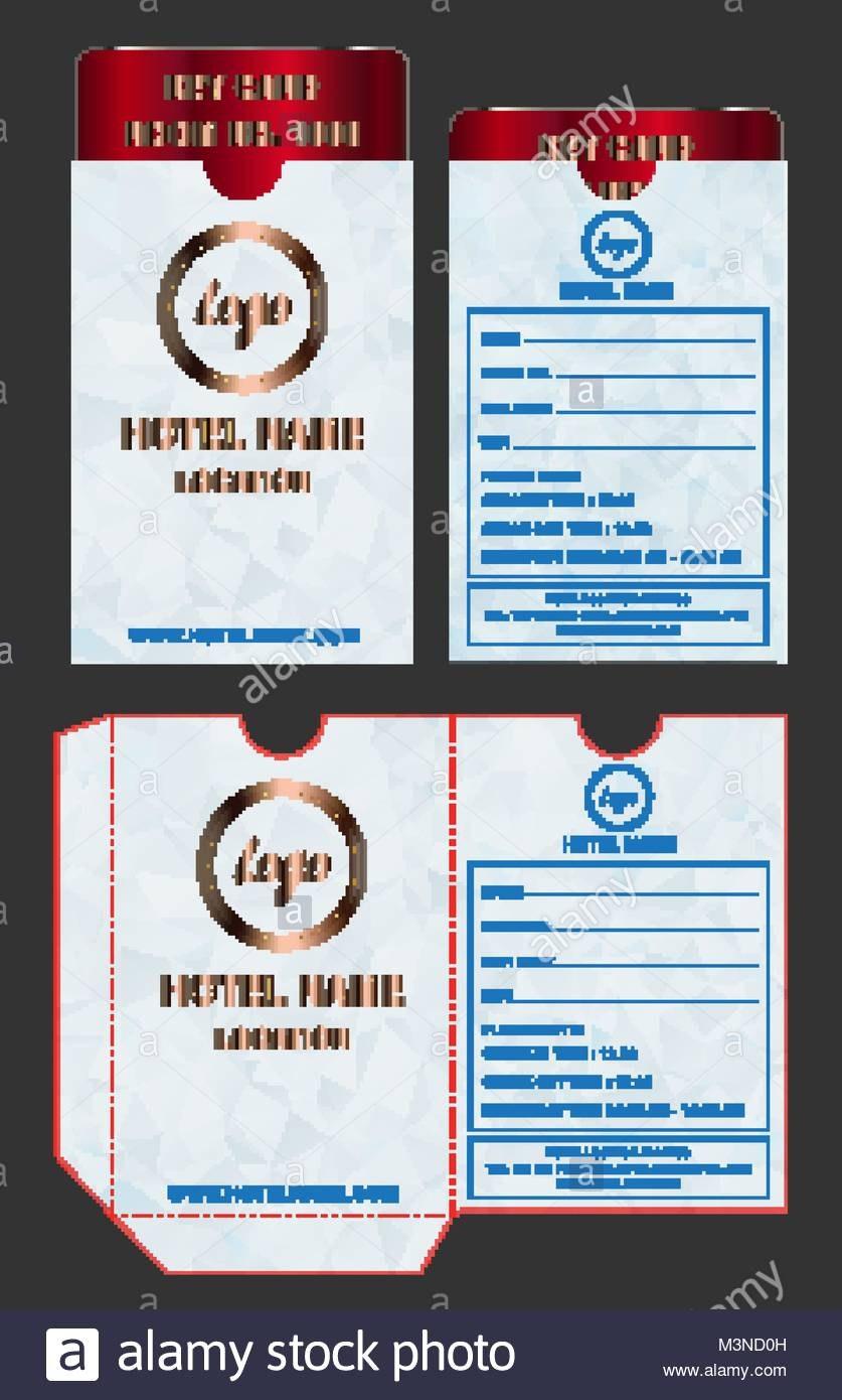 Hotel Key Card Holder Folder Package Template Stock Vector Art For Hotel Key Card Template