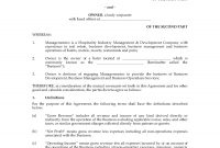 Hotel Management Agreement with regard to Business Management Contract Template