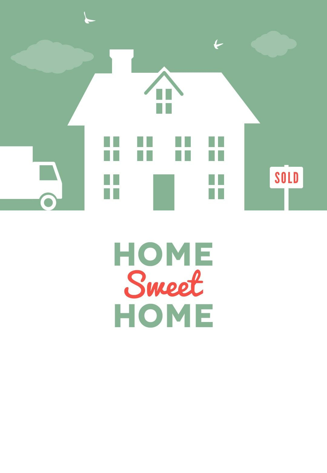 House And Birds  Free Printable Moving Announcement Template Within Free Moving House Cards Templates