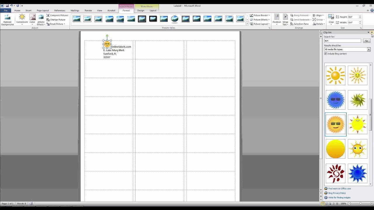 How To Add Images And Text To Label Templates In Microsoft Word Inside Sticker Label Printing Template