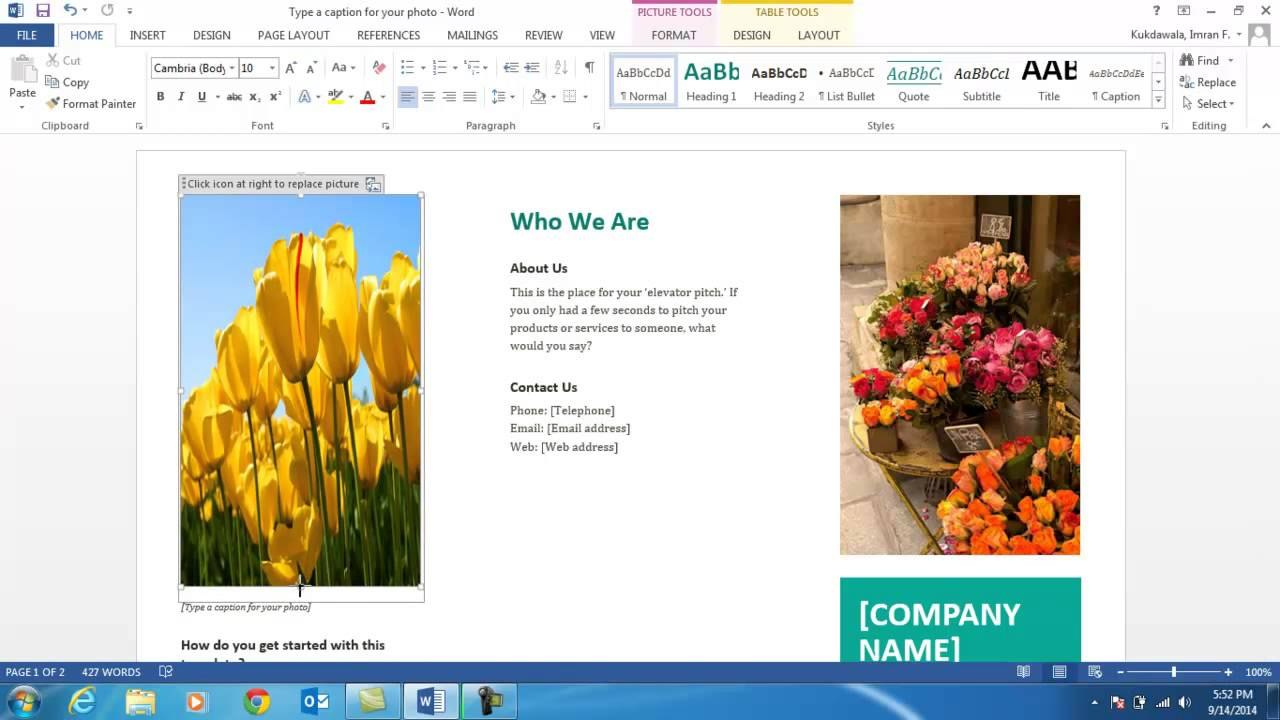 How To Create A Brochure Using Ms Word   Youtube For Word 2013 Brochure Template