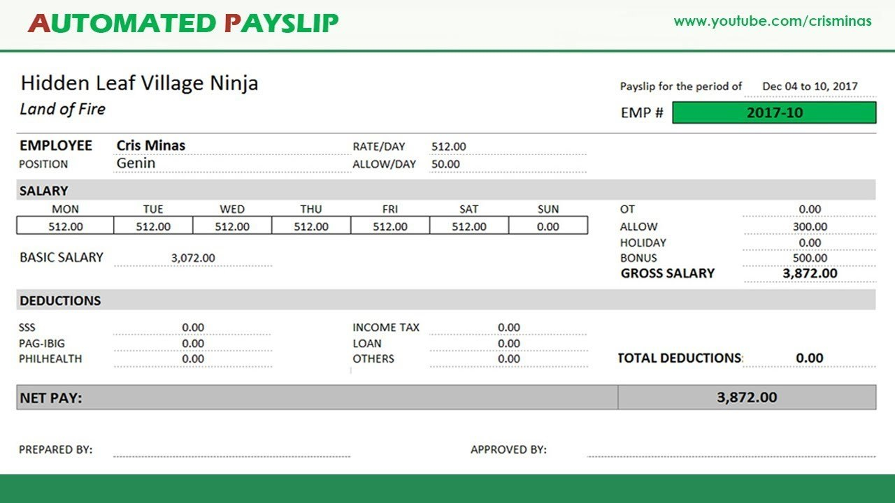 How To Create An Automated Payslip In Excel  Youtube Inside Blank Payslip Template