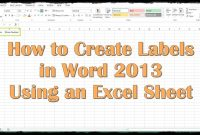 How To Create Labels In Word  Using An Excel Sheet  Youtube with regard to Pallet Label Template