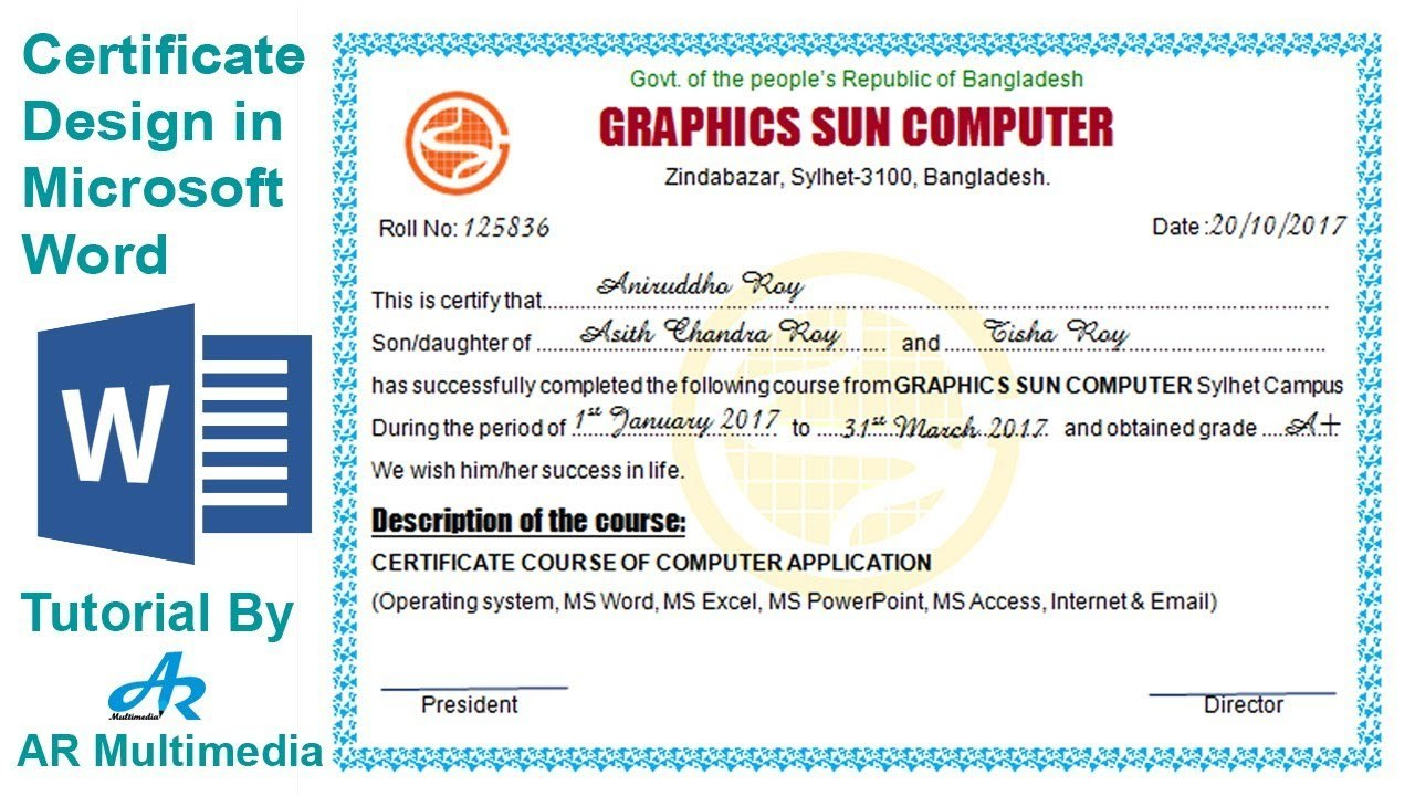 How To Create Professional Certificate In Word Certificate Throughout Word 2013 Certificate Template