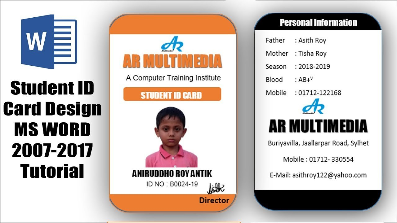 How To Create Professional Student Id Card In Ms Word Two Part Id Card  Design Microsoft Word With Pvc Id Card Template