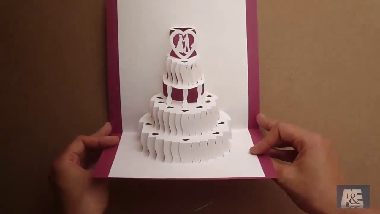 How To Make A Amazing Wedding Cake Pop Up Card Tutorial  Free With Regard To Pop Up Wedding Card Template Free