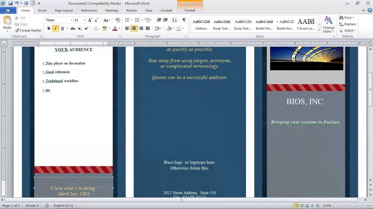 How To Make A Brochure In Microsoft Word  Youtube Pertaining To Brochure Templates For Word 2007