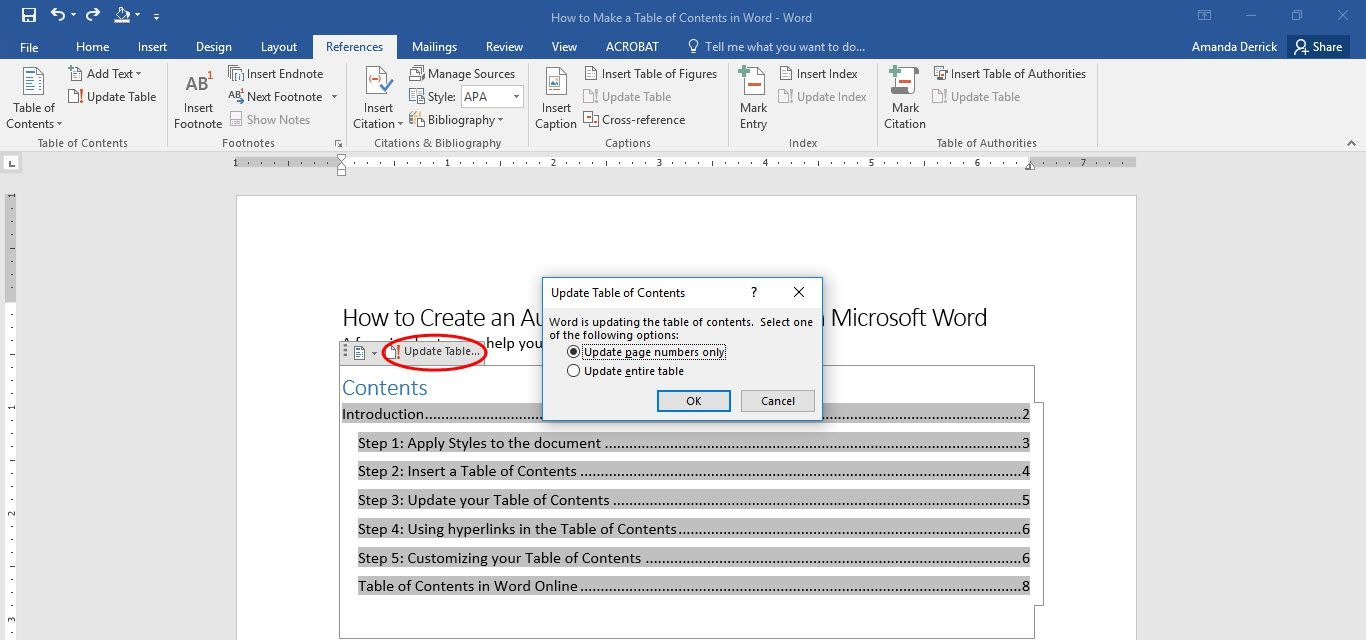 How To Make A Table Of Contents In Microsoft Word Regarding Blank Table Of Contents Template Pdf