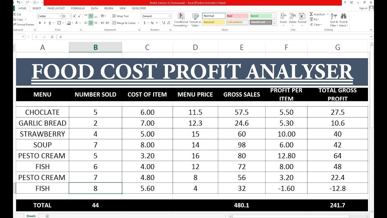 How To Make Food Cost Profit Sheet In Excel Hindi  Youtube With Regard To Restaurant Menu Costing Template