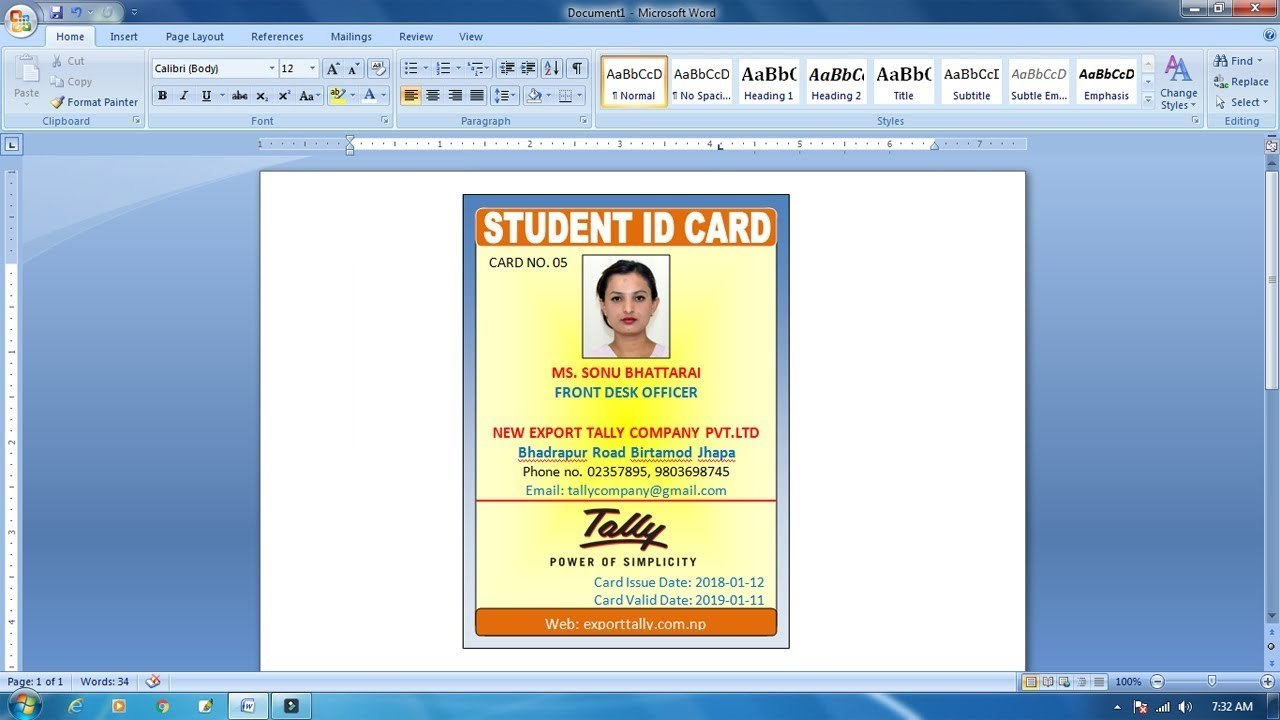 How To Make Id Card Design In Ms Word  Advance Id Card Design Throughout Id Card Template For Microsoft Word