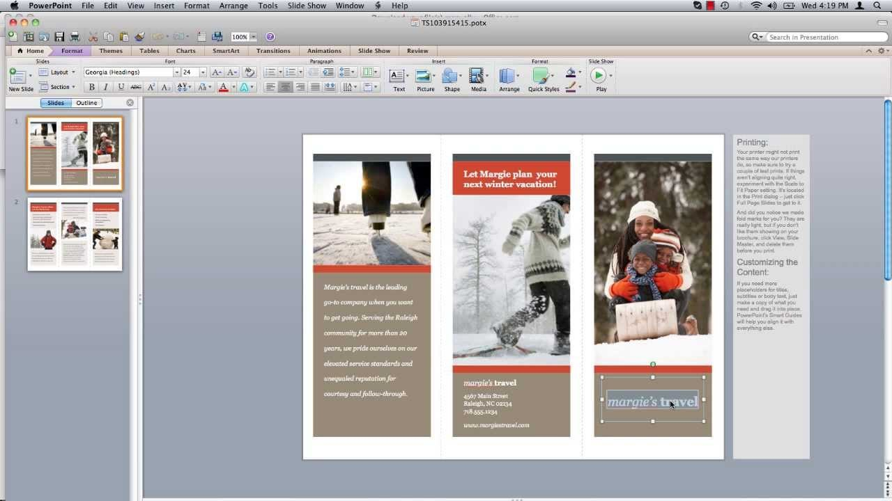 How To Make Powerpoint Brochure  Youtube Inside Mac Brochure Templates