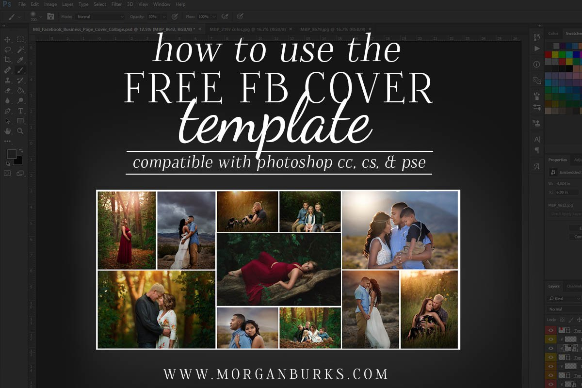 How To Place Images Into A Photoshop Collage Template  Morgan Burks Pertaining To Photoshop Facebook Banner Template