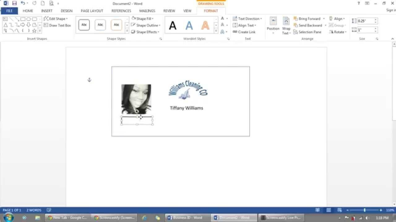 How To Use Microsoft Word To Make Id Badges  Youtube Throughout Free Id Card Template Word