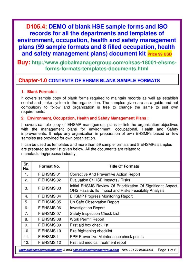 Hse Sample Forms  Pdf Flipbook In Hse Report Template