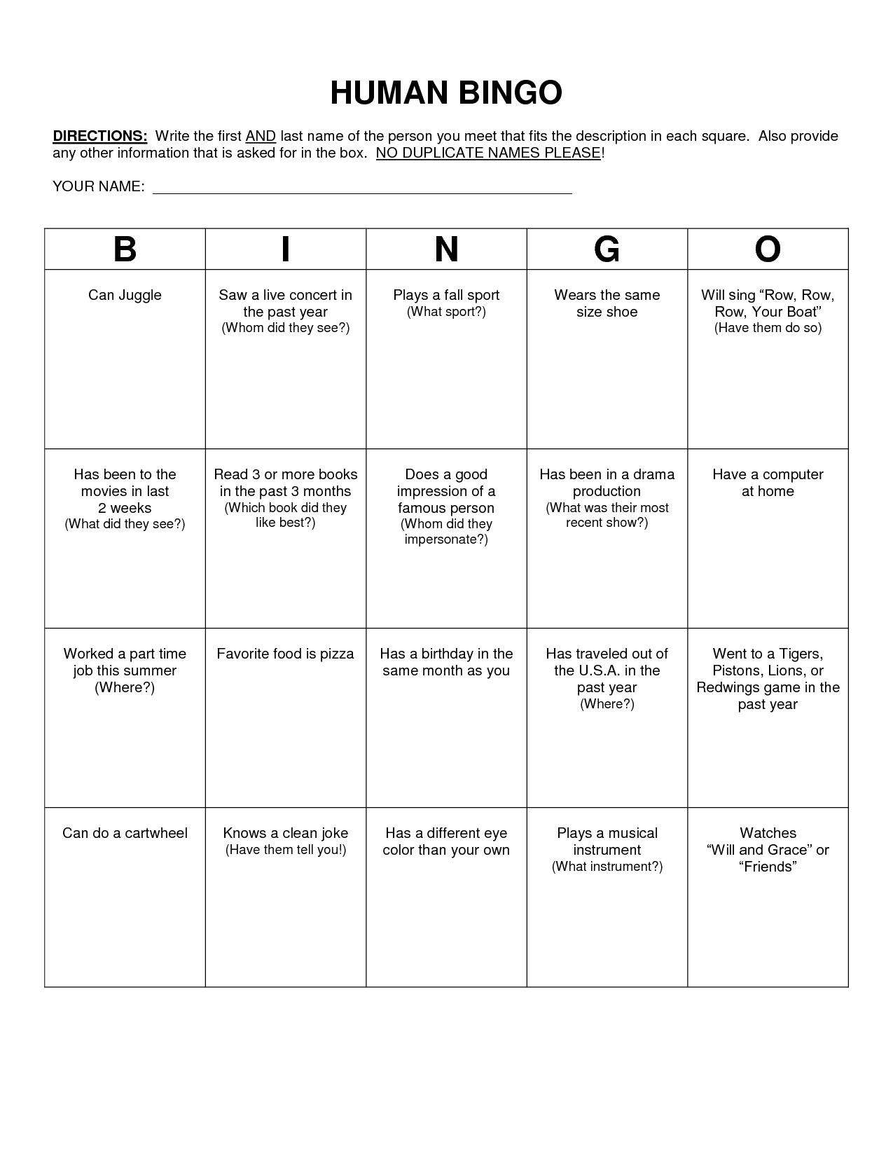 Human Bingo Scavenger Hunt Template  Classroom  Human Bingo Bingo For Blank Bingo Card Template Microsoft Word