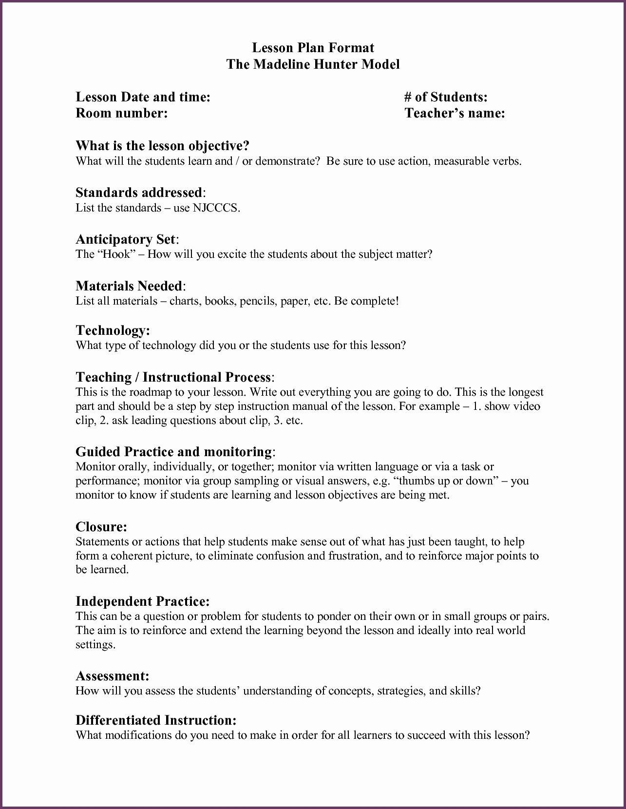 Hunter Lesson Plan Template Elegant Madeline Hunter Mastery Teaching Within Madeline Hunter Lesson Plan Template Blank
