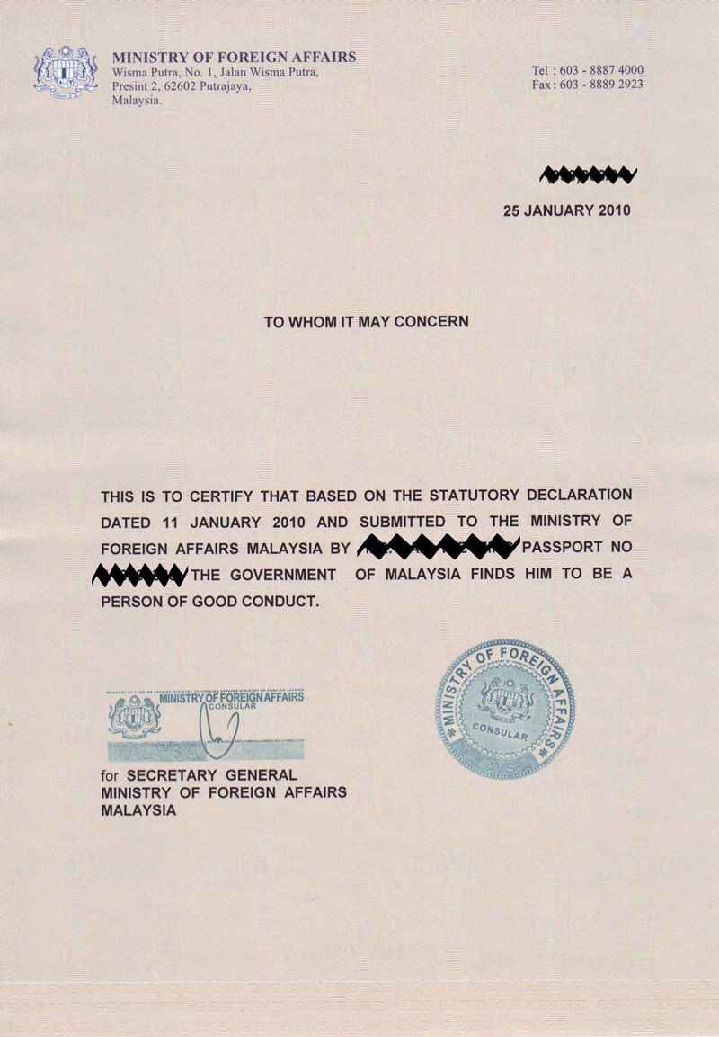 I Am Not A Blog Certificate Of Good Conduct  Months Validity Within Good Conduct Certificate Template