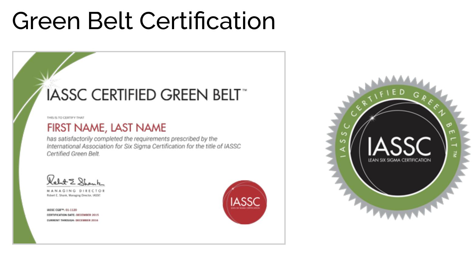 Icgb  Lean Six Sigma Green Belt Online Self Paced   Months E For Green Belt Certificate Template