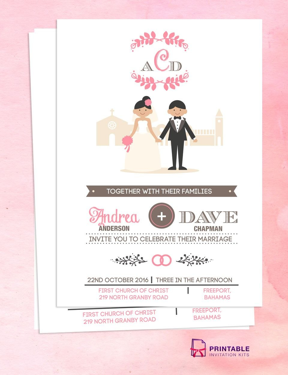 Illustrated Couple In Front Of Church Wedding Invitation Template Inside Church Wedding Invitation Card Template