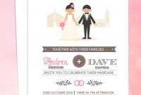 Illustrated Couple In Front Of Church Wedding Invitation Template intended for Church Invite Cards Template