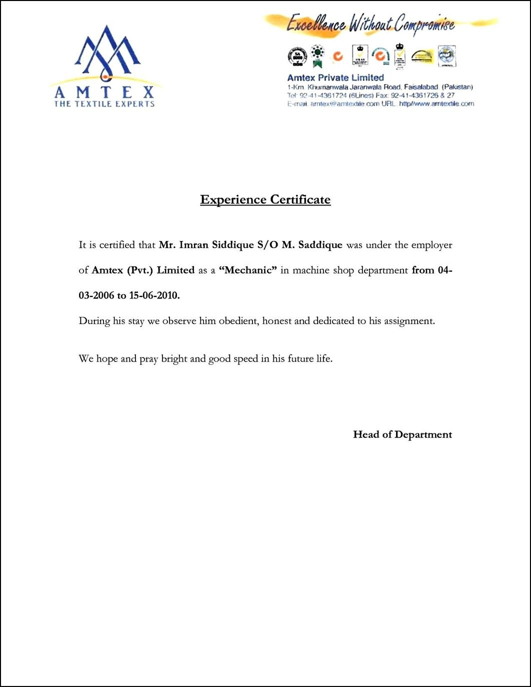Image Result For Example Of A Good Experience Letter For Good Job Certificate Template