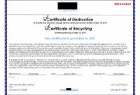 Images Of Attestation Of Data Destruction Template  Matyko intended for Hard Drive Destruction Certificate Template