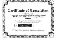 Images Of National Safety Council Dui Certificate Template regarding Safe Driving Certificate Template