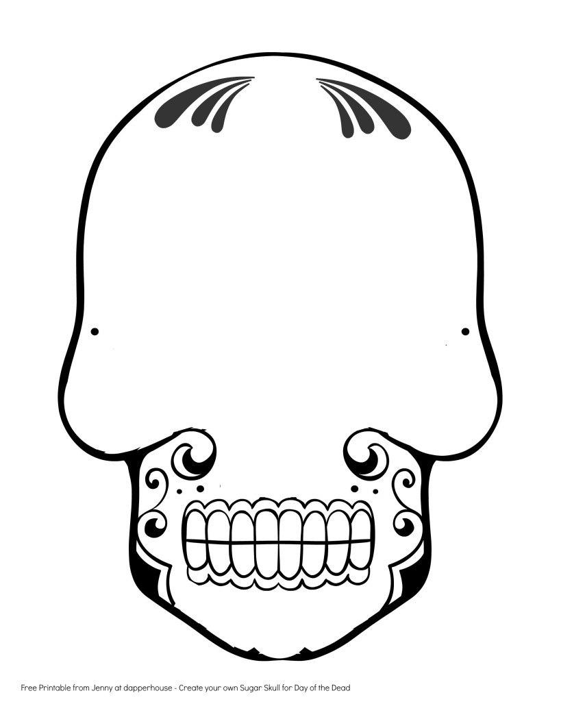 Images Of Sugar Skull Drawing Template  Zeept Inside Blank Sugar Skull Template